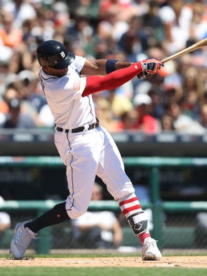Tigers leftfielder Justin Upton was 3-for-3 with two doubles and a go-ahead, two-run single in the seventh of the Tigers' 5-3 win over the Giants Tuesday at Comerica Park.