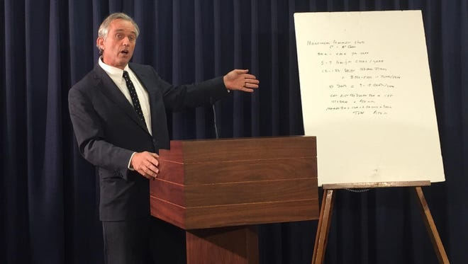 Robert F. Kennedy Jr. speaks out against a bill that would mandate a meningitis vaccine for New York students in grades 7 and 12. Kennedy spoke at a news conference Tuesday in Albany.