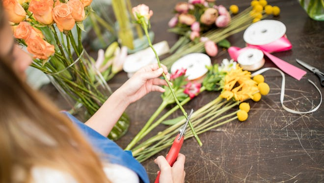 Young female flower artist cutting flower stems with a pruner to make an arrangement in her workshop