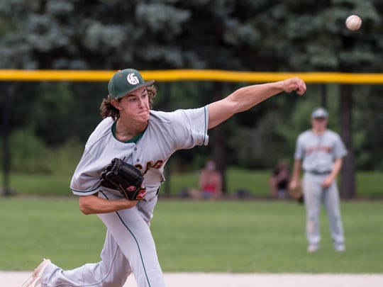 Austin Moralis of the Prairie Gravel pitches in the Connie Mack Regional Championship game at Bailey Park on Sunday.