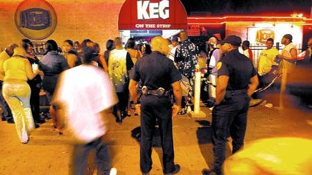 Two Lafayette Police officers work security at the Keg on Mckinley St. Saturday March 15, 2003. File photo.