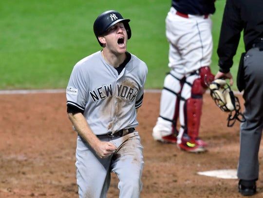 New York Yankees third baseman Todd Frazier (29) celebrates