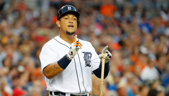 Tigers first baseman Miguel Cabrera yells into the White Sox dugout after a pitch was called a ball during the third inning Monday at Comerica Park.