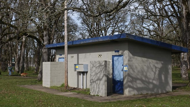 The closed restrooms near the softball field at Bush's Pasture Park on Tuesday, Feb. 25, 2014.