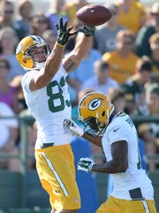 Receiver Jeff Janis (83) during Green Bay Packers Training Camp at Ray Nitschke Field July 30, 2015.