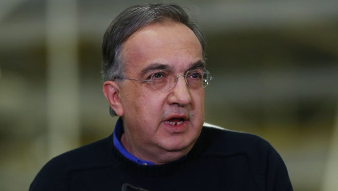 Fiat Chrysler Group CEO Sergio Marchionne speaks at a news conference to celebrate the production of the 2015 Chrysler 200 at the Sterling Heights Assembly Plant in Sterling Heights, Mich., in 2014