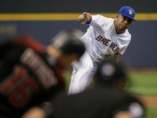 Milwaukee Brewers' Junior Guerra pitches to a Arizona Diamondbacks batter during the first inning of a baseball game Friday, May 26, 2017, in Milwaukee. (AP Photo/Tom Lynn)