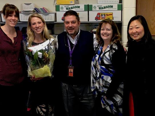 3rd grade teacher, Liz Salinger (second from left)