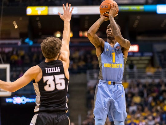 Marquette guard Duane Wilson shoots at the BMO Harris Bradley Center on Saturday.