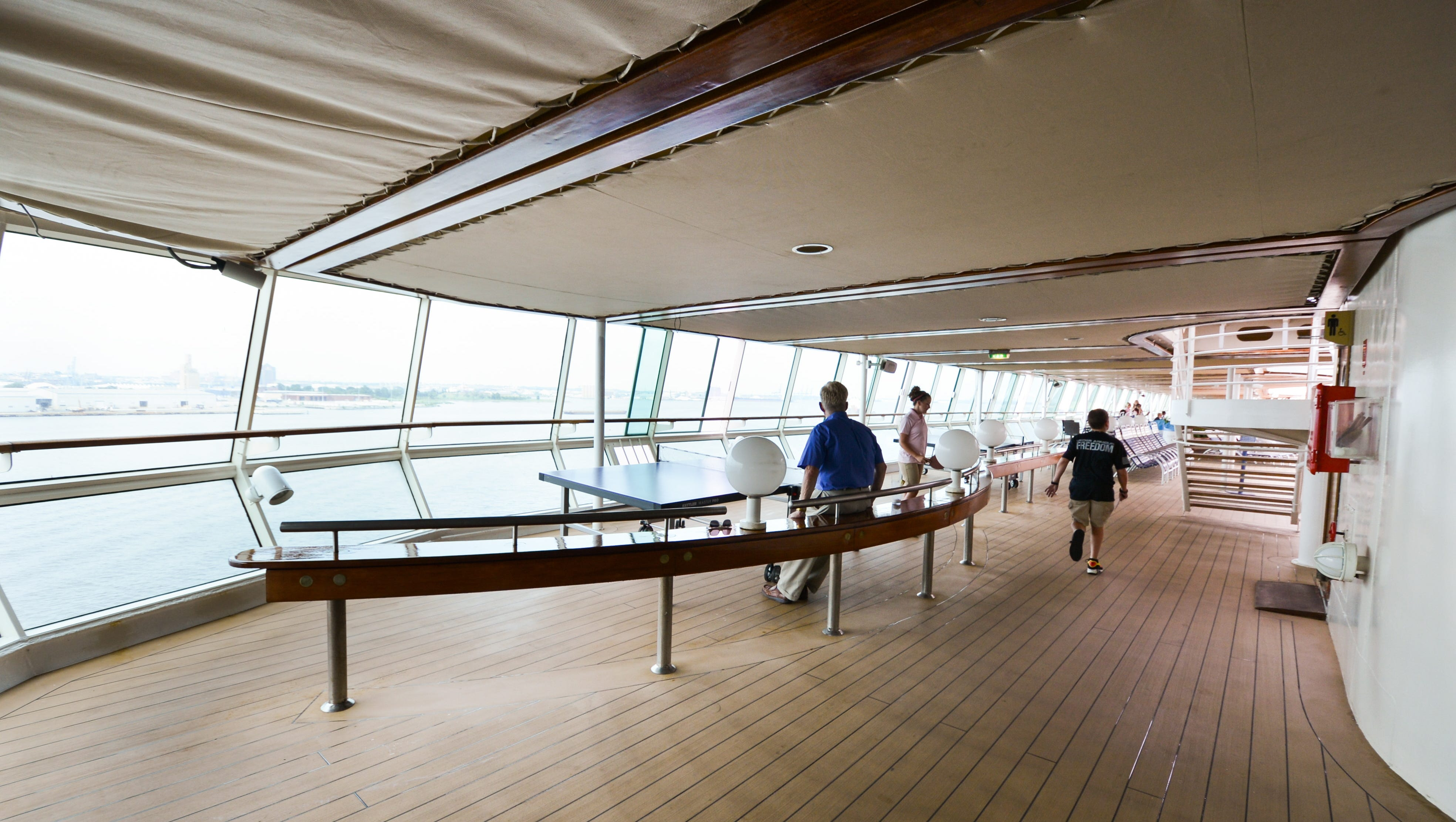 Top deck attractions on Grandeur of the Seas include ping-pong tables.