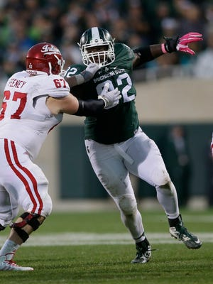 Michigan State defensive lineman Joel Heath (92) rushes the Indiana offensive line during the second half of an NCAA college football game, Saturday, Oct. 24, 2015, in East Lansing, Mich. (AP Photo/Carlos Osorio)