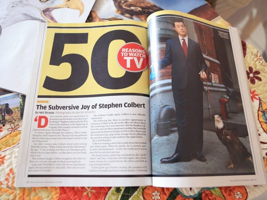 An eagle owned by Jonathan Wood appeared with Stephen Colbert in this Rolling Stone article.