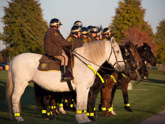 The Oakland County mounted division stands along 14
