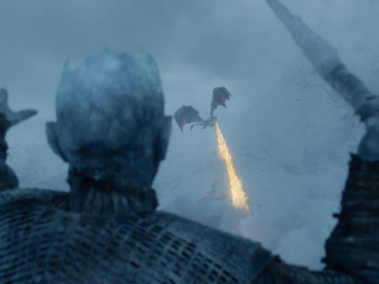 The Night King aims his icy spear at one of Dany's