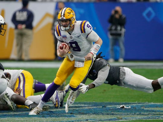 LSU quarterback Joe Burrow (9) in the first half during