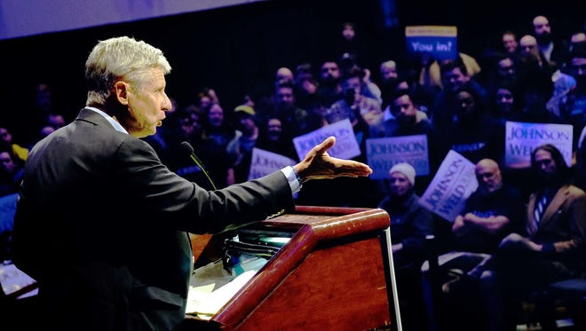 Libertarian Presidential candidate Gary Johnson speaks during a campaign stop at Cobo Center on Friday, October 28, 2016, in Detroit, MI.