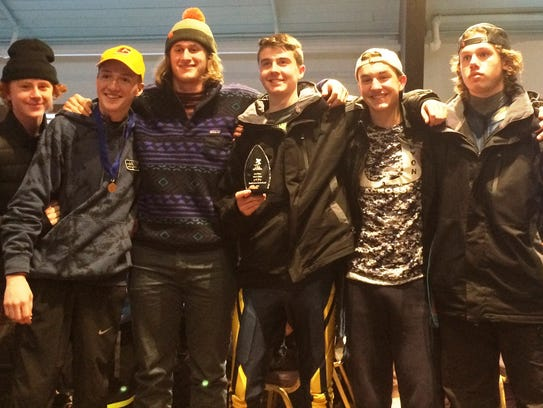 Members of the South Lyon boys ski team include (from