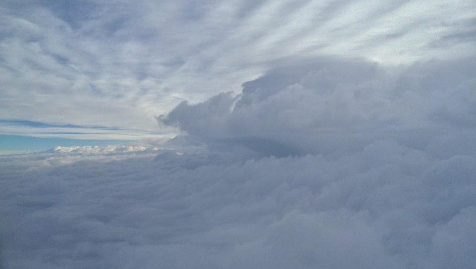 SW Washington storm cloud seen from the air.