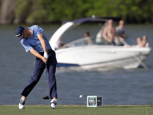 Justin Thomas hits his tee shot on the 14th hole during round-robin play at the Dell Technologies Match Play golf tournament, Thursday, March 22, 2018, in Austin, Texas. (AP Photo/Eric Gay)