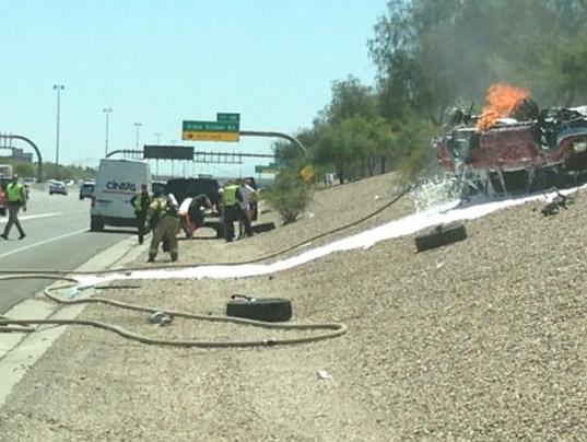 Vehicle Fire at SanTan Freeway and Alma School Road