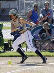 Maura Glovins tries to bunt for a hit for Elmira Notre