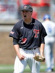 Texas Tech's Davis Martin (30) celebrates after getting