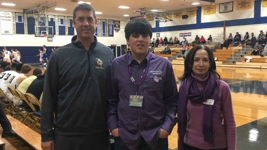 NV/Old Tappan boys basketball coach Craig Ferraro (left), Aaron DeNicola (center) and Robyn Kohn (Manager Programs Alzheimer's Association Greater N.J. Chapter).