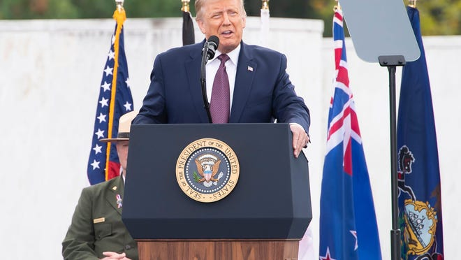 President Donald Trump speaks during a remembrance ceremony at the Flight 93 National Memorial near Shanksville, Pa., on Friday, September 11, 2020.
