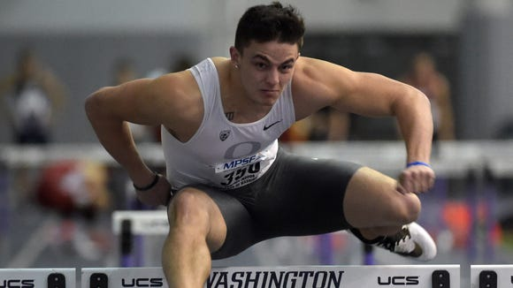 Feb 26, 2016; Seattle, WA, USA; Devon Allen of Oregon wins 60m hurdles heat in 7.88 during the 2016 MPSF Indoor Championships at the Dempsey Indoor. Mandatory Credit: Kirby Lee-USA TODAY Sports