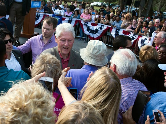 President Bill Clinton shakes hands with the crowd after speaking on Tuesday, Nov. 1, 2016, at the Immokalee Pioneer Museum in Immokalee as a part of Democratic candidate Hillary Clinton's presidential campaign.