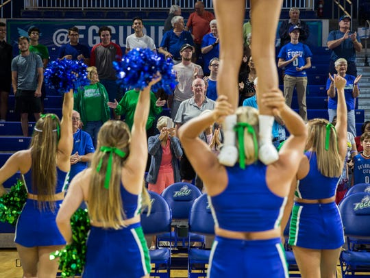 Family, friends and fans of the FGCU women's basketball team gather in Alico Arena to watch the NCAA Tournament selection on Monday.