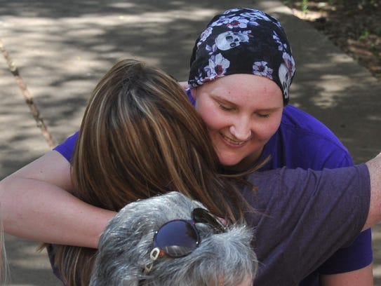 19-year-old Jessica Allen greeted people Thursday morning