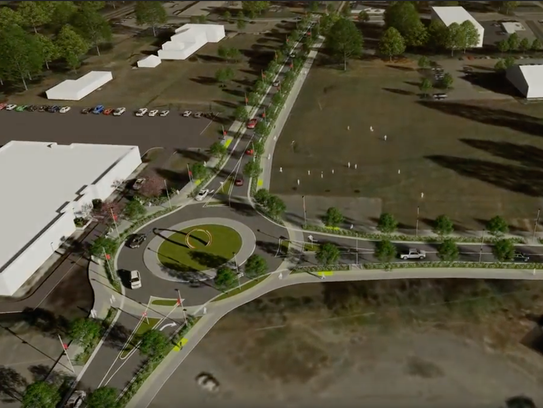 A rendering showing the new Station Boulevard, which