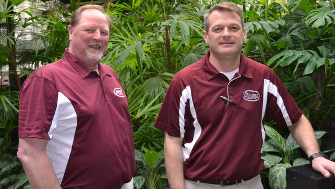 Gordy Noe (left), founder of Pioneer Heating & Air Conditioning, and Mike Conley, Pioneer general manager.