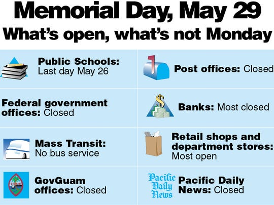 What's open and what's not for Memorial Day, Monday, May 29