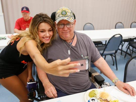 Army veteran George Ordog and Mikayla Burch, a waitress