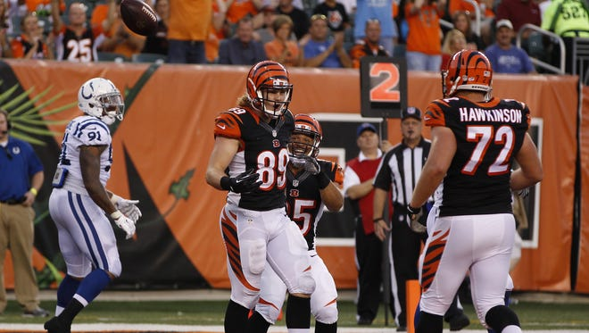 Thursday, Aug. 28, 2014 BENGALS SPORTS : Cincinnati Bengals tight end Ryan Hewitt (89) reacts after his second quarter touchdown during their preseason game against the Indianapolis Colts at Paul Brown Stadium.  The Enquirer/Gary Landers