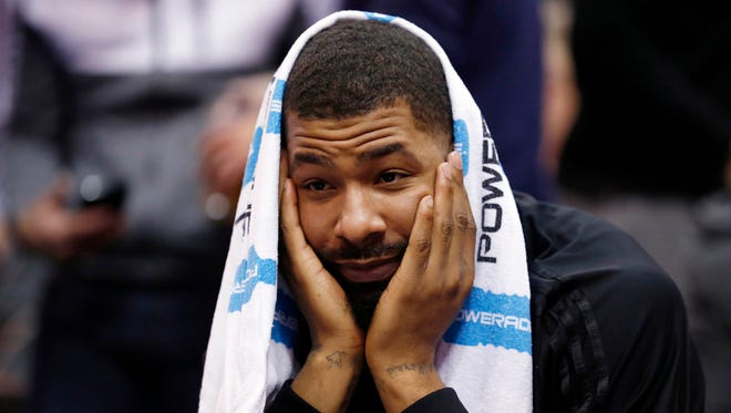 Dec. 21, 2015: Phoenix Suns forward Markieff Morris (11) sits on the bench in the final seconds of their 110-89 loss to the Utah Jazz in Salt Lake City.