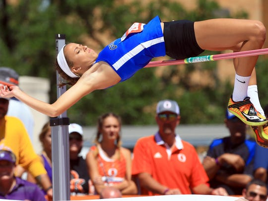 George West's Nikaya Neal competes in the 3A girls high jump during the UIL State Track & Field Championships on Friday, May, 12, 2017, at Mike A. Myers Stadium in Austin.
