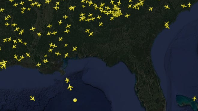 A FlightRadar24 tracking map reveals that there isn't a plane in the sky over Florida