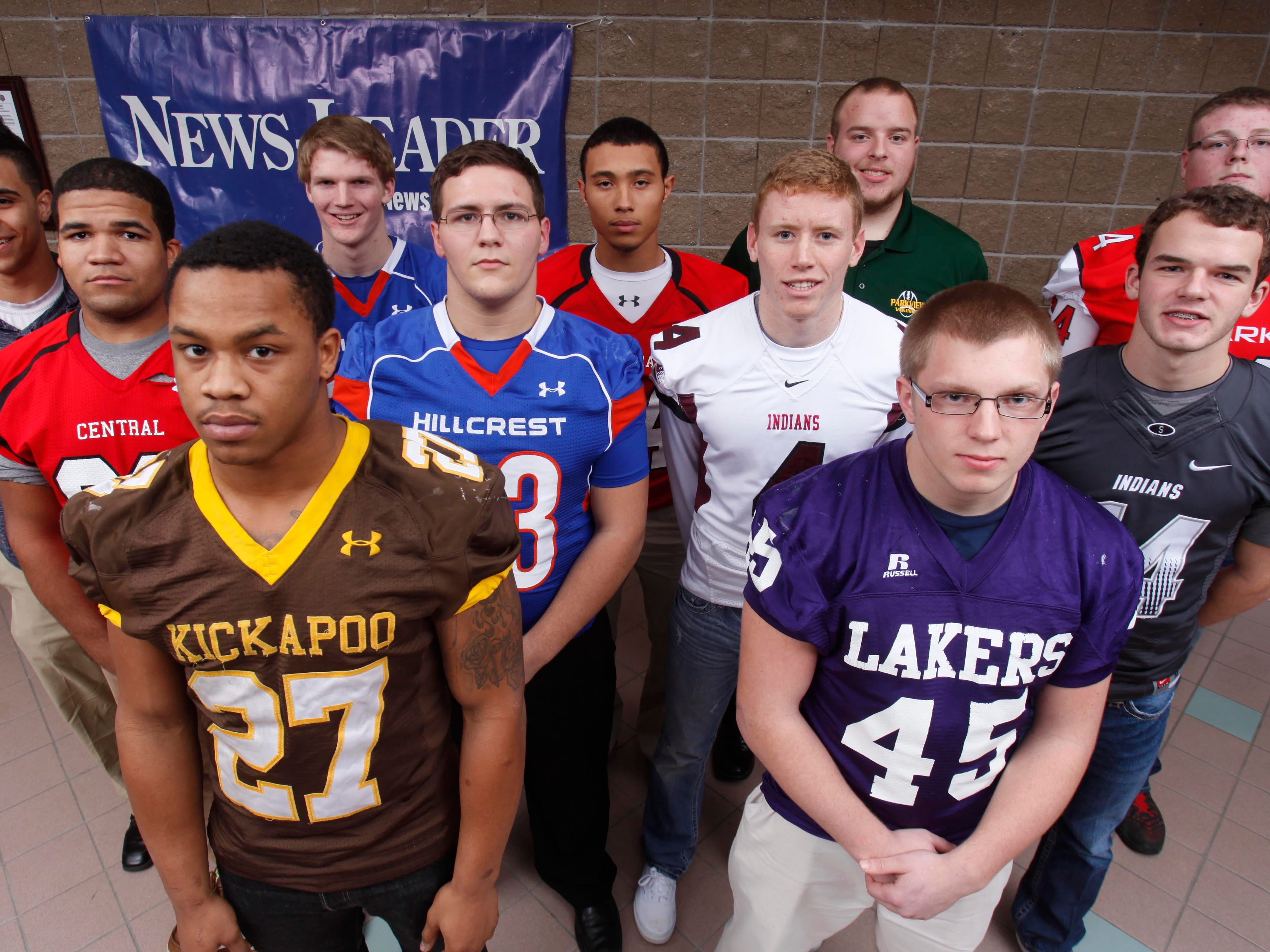 The All-Ozarks football team offense (Back row, from left) Connor Ratcliff of Parkview, Erik Savage of Hillcrest, Isaiah Holyfield of Central, Greg Robinson of Parkview, Connor Massey of Ozark, (middle row) Jordan Johnson of Central, Garrett McGuire of Hillcrest, Dallas Hester of Strafford, Chanler Collins of Strafford, (front row) Tony Grant of Kickapoo and Josh Martin of Camdenton.