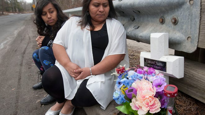 Alberta Juarez (right), Lakewood, with her daughter Beverly, 14 on Clover St. in Lakewood where her 12 year old son Eddie was fatally struck by a hit and run driver in 2011 --March 10, 2015-Lakewood, NJ.-Staff photographer/Bob Bielk/Asbury Park Press
