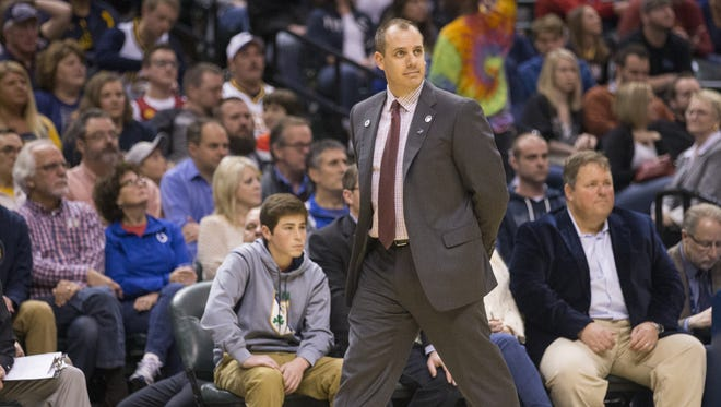 Frank Vogel, Head Coach of Indiana, Bankers Life Fieldhouse, Indianapolis, Sunday, April 10, 2016. Indiana beat the Brooklyn Nets 129-105.