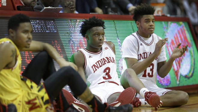 Sophomore IU forwards OG Anunoby (3) and Juwan Morgan (13) figure to have bigger roles in 2016-17.