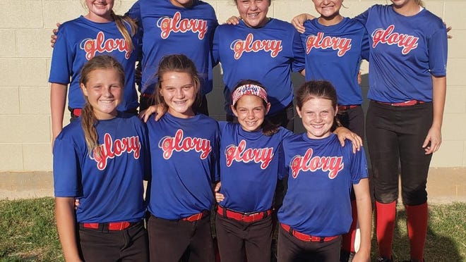 Amanda Sheffield's 12u Glory of Brownwood competed in the USA State Tournament in Wichita Falls over the weekend and placed fourth in the Gold Division. The youngest team in the Gold bracket rallied all weekend with timely hits and great pitching to find a way to stay in games and compete. Bottom Row from left: Sydney Greaves, Addisyn Howard, Grey Pruett and Kenley Howard;  Top Row: Rylee Greenway, Aleeya McCombs, Stephani Trevino, Maitlyn Esquivel and Madison Stalcup.