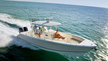 The Cobia 344CC, pictured, is one of hundreds of boats on sale at the New Jersey Boat Sale and Expo.