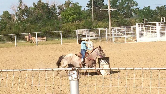 Rylee Mitchell, who just completed her freshman year at CMR, competes in barrel racing and two other rodeo events.