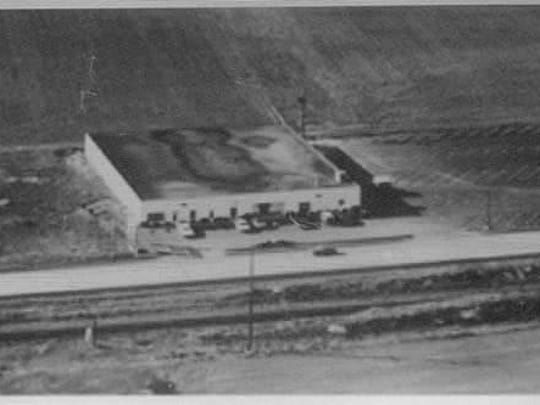 An undated aerial photo of Nellie Fox Bowl. This was before the parking lot was extended to the right of the building.