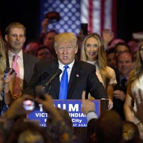 Republican presidential candidate Donald Trump claims victory Tuesday after winning the Indiana primary.