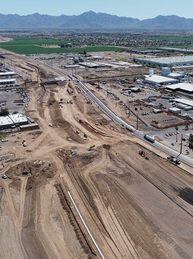 Aerial drone view of the Loop 202 construction looking south along 59th Avenue near I-10 in Phoenix on April 24, 2019.